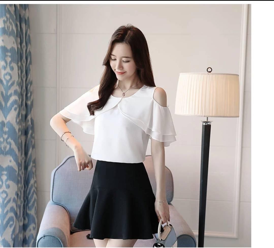 ... AG Apparel Blouse Raida Putih Blouse Sabrina Baju Wanita Blouse Korea Atasan Wanita Atasan Murah Kemeja