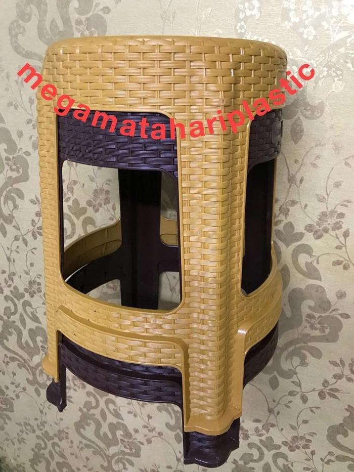 PROMO  Bangku Bakso / Kursi Plastik Anyaman Rotan BULAT