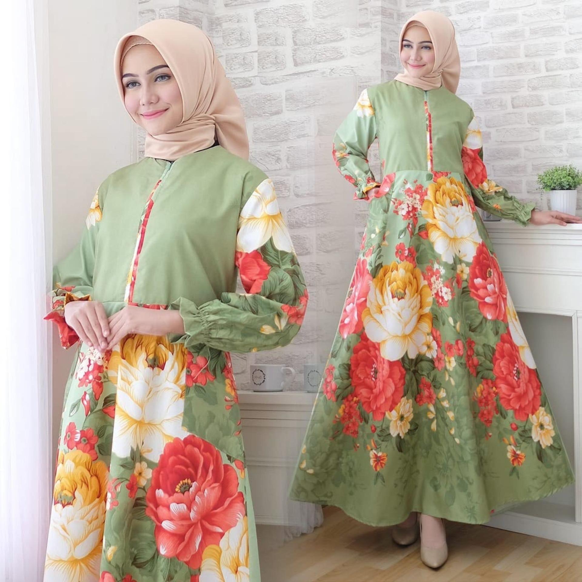 Luaran Muslim Wanita Terlengkap Mutif M133 Atasan Dewasa Hitam Abu Misty Maxi Dress Lengan Panjang Busui Katun Jepang Motif Msr290 Gamis Syari Kasual Gaun Muslimah
