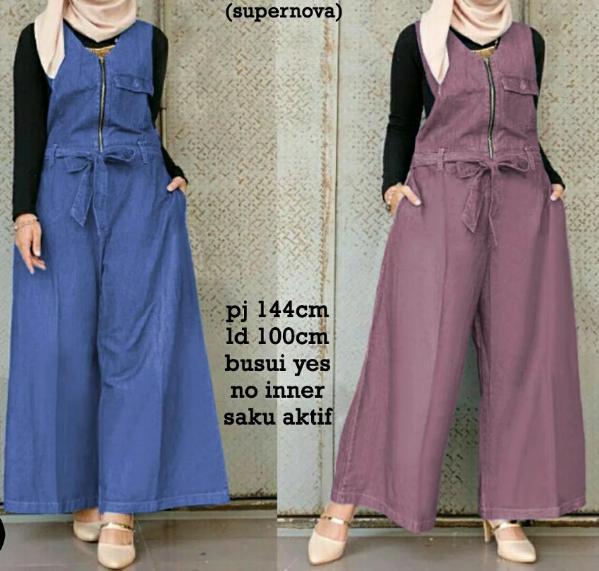 Cn 6881 Nanda Jumpsuit Jp Js Overall Baju Kodok Celana Panjang Katun Abu Tua Biru Busui Hijab Baju Muslim Modis Modern Wanita Murah Cewek Gaul