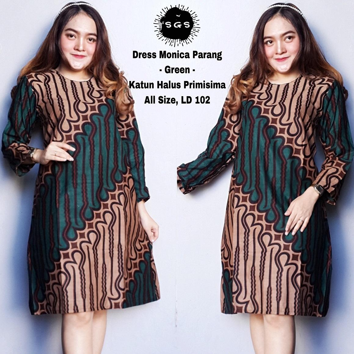 Atasan Dress Tunik Batik Wanita - Dress Wanita - Monica Parang OrenIDR59800. Rp 59.800