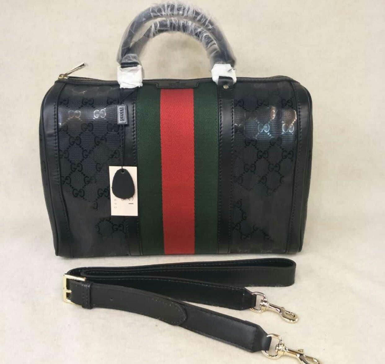 TAS GUCCI BOSTON BLACK GC LIST RED GREEN MIRROR QUALITY