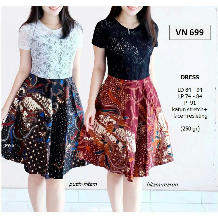 ALdera Dress Pesta Batik Wanita Modern Midi Flare Lace Stretch Mewah VN699