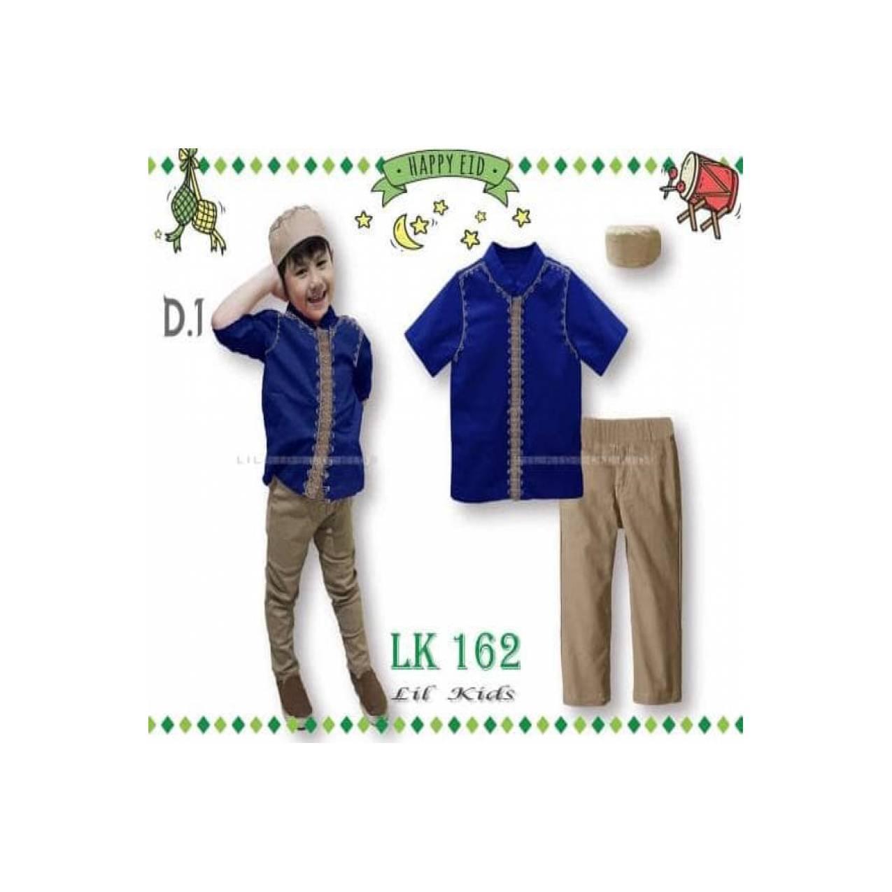 LK162 D1 Besar Baju Muslim Koko Pendek Anak Import Lebaran Peci Biru
