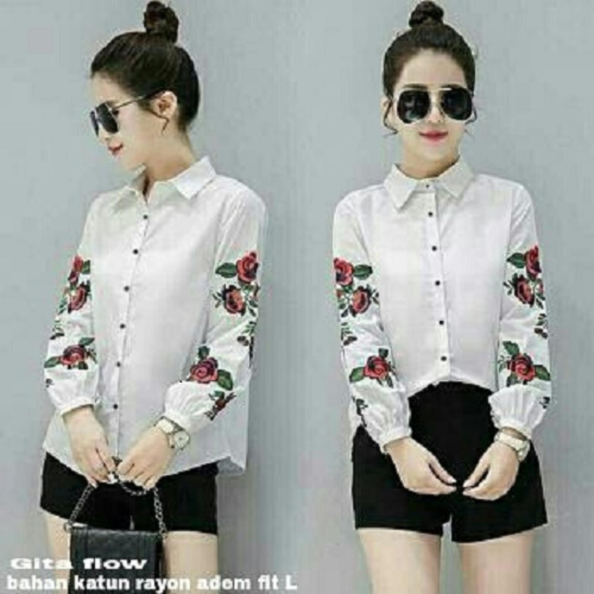 F Fashion Kemeja Wanita Gita Navy Daftar Harga Terkini Dan Jaket Korea Fit Xl Amorshop Flow Atasan 080