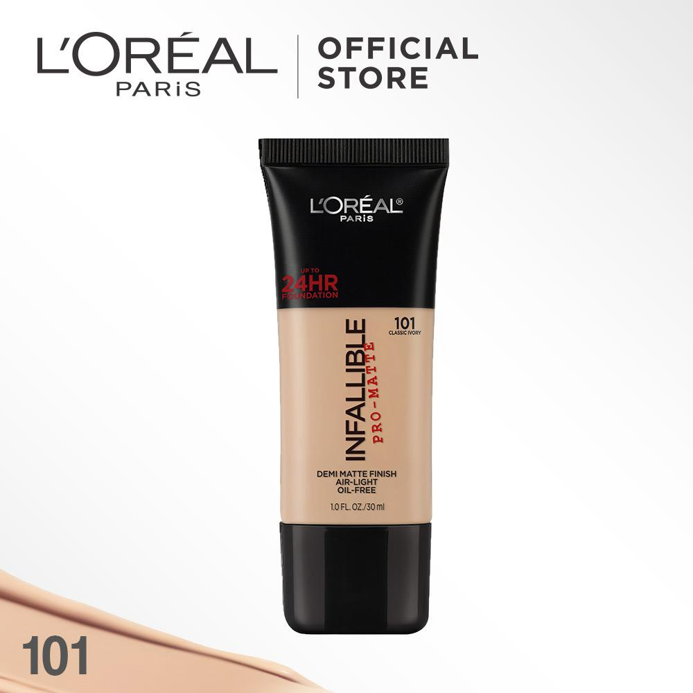 L'Oreal Paris Infallible Pro Matte Liquid Foundation - 101 Classic ivory by L'Oreal Paris Makeup   Loreal Foundation  Cair Matte For Normal to Oily Skin / Kulit Berminyak Long Lasting Tahan Lama