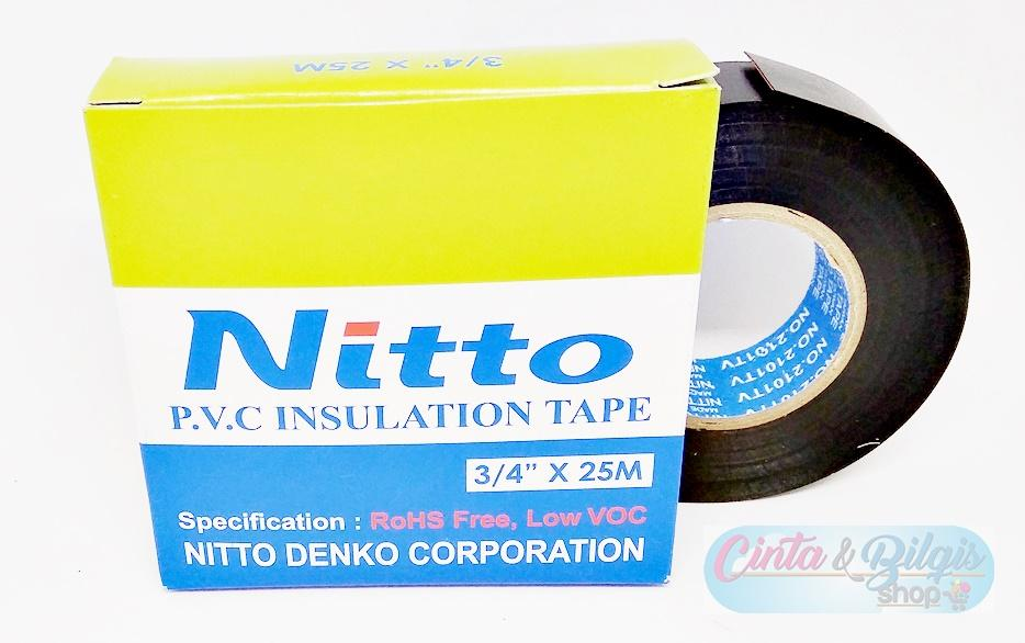 Isolasi Kabel Nitto PVC INSULATION ELECTRICAL TAPE - Hitam 3/4 Inch 25 Mtr