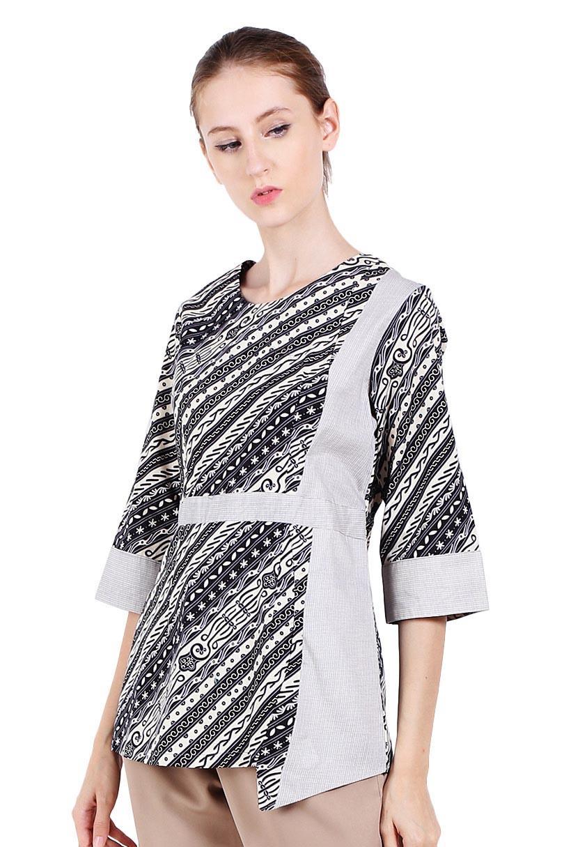 Buy Sell Cheapest Adikusuma Tunik Batik Best Quality Product Deals Blouse Parang Centung Hitam Xl Udan Liris Abu