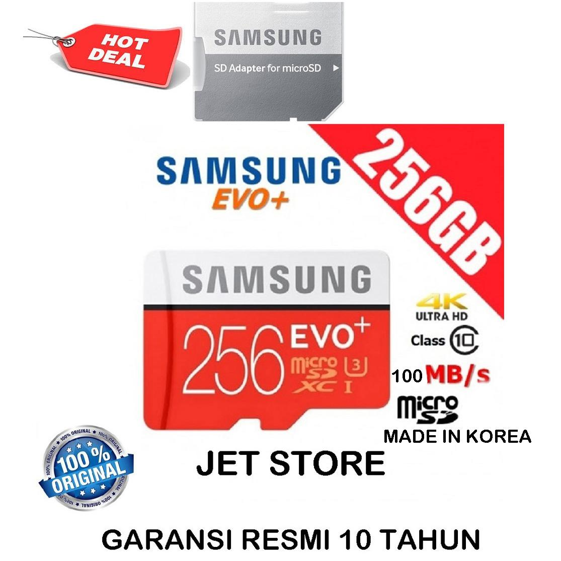 Samsung Memory Card MicroSDXC Evo Plus 256GB / 100MB/s with Adapter - Merah