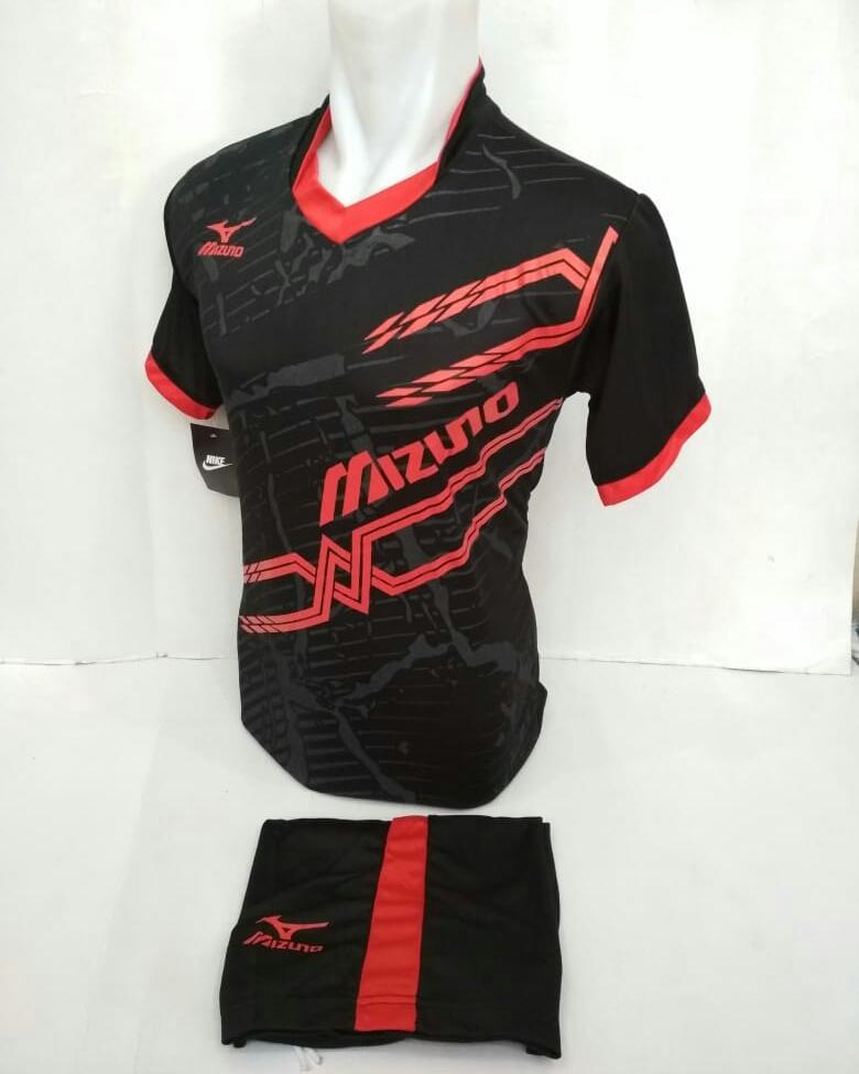 Baju Kaos Olahraga Jersey Bola Setelan Futsal Volley Mizuno Mz23 hitam merah.
