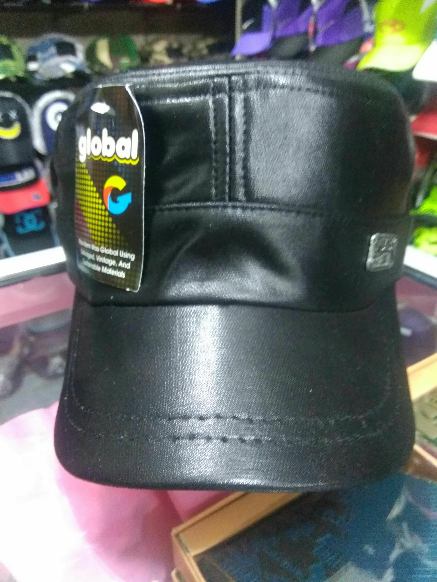King's topi kulit sintetis army hitam