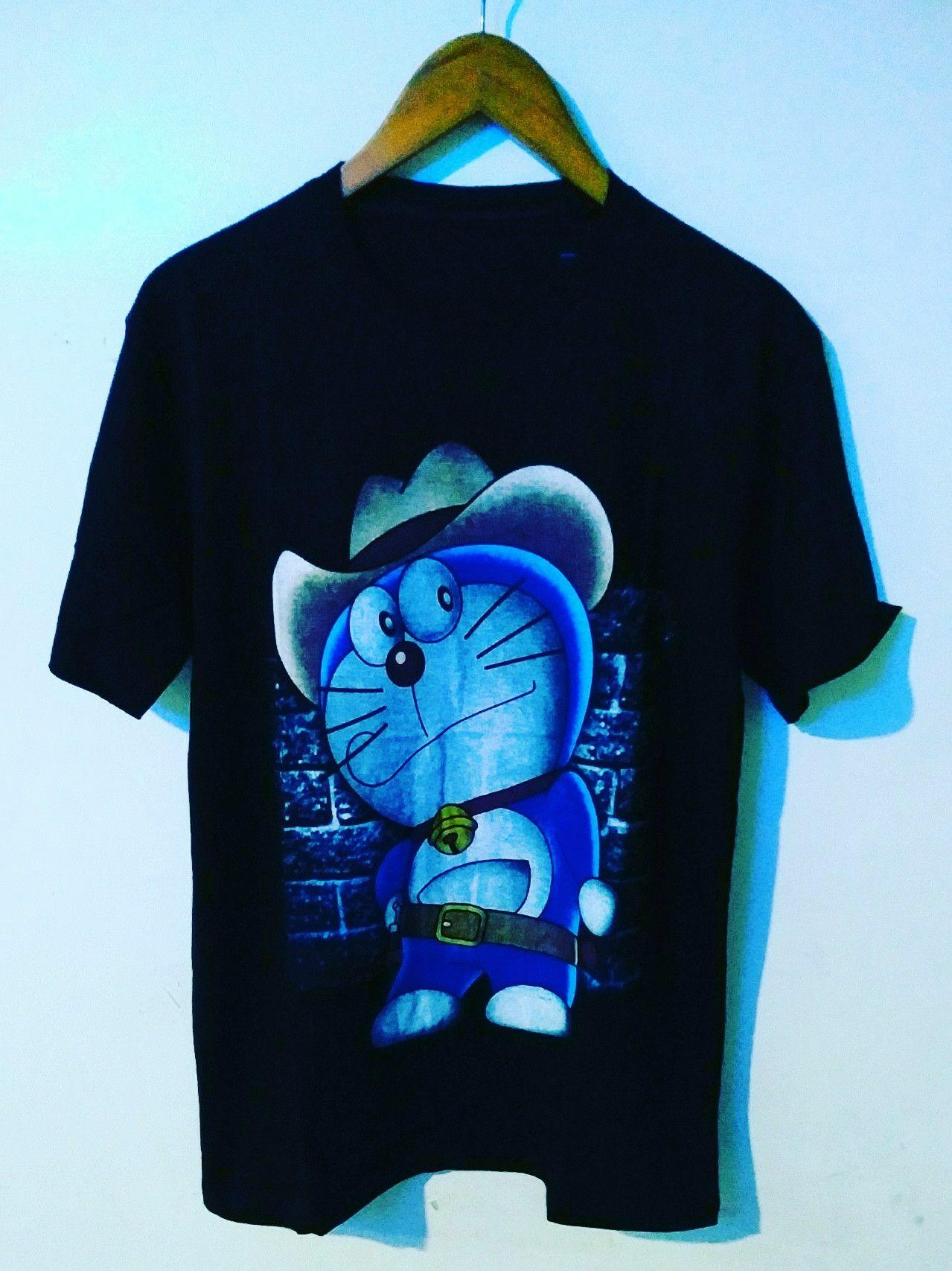 Amazon distro-kaos distro T-shirt fashion 100% soft cotton combed 30s kaos pria kaos fashion baju distro T-shirt gambar DORAEMON kartun marvel sablon plastisol atasan pria wanita katun simple keren cowok cewek pakaian distro