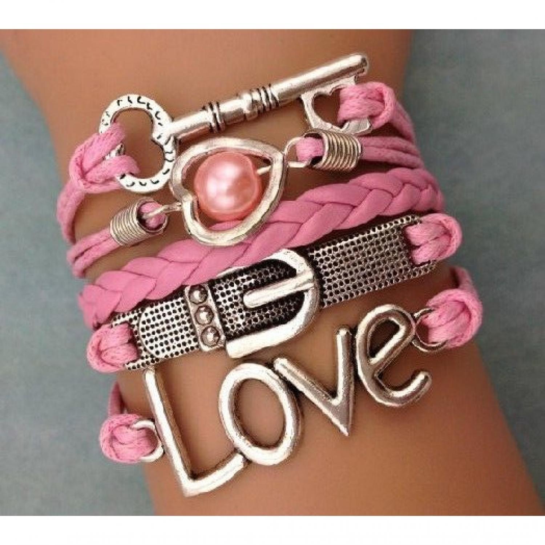 Gelang Vintage Love Keys Leather Bracelet Bangle Women - W14