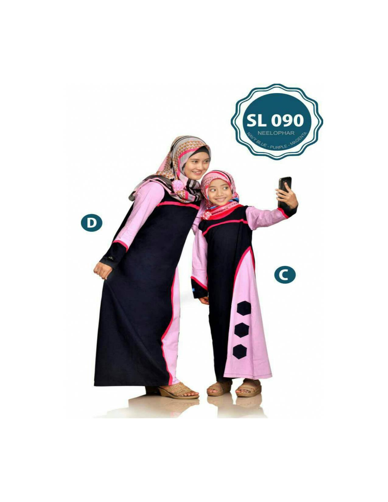 SL 090 KAOS KELUARGA COUPLE MUSLIMAH BAJU IBU DAN ANAK GAMIS KAOS