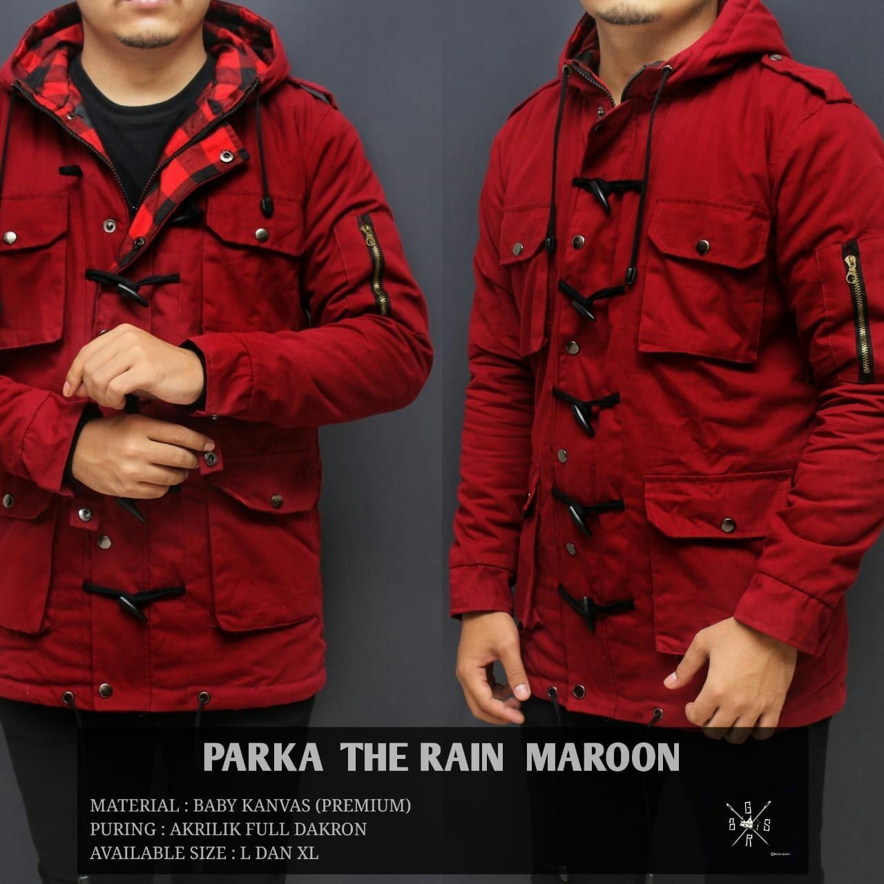 Jaket parka pria the rain maroon
