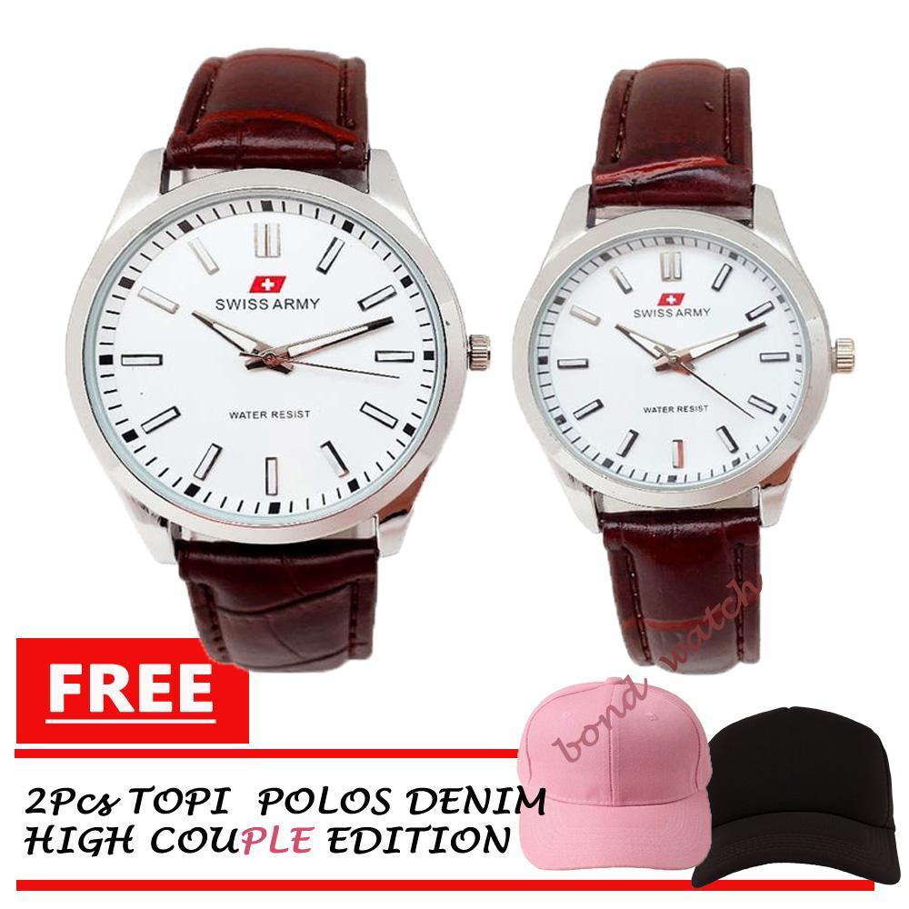 Swiss Army Couple Premium Class Jam Tangan Pria dan Wanita Tali Kulit / Original Leather Strap Bonus Free Topi Denim Kain Pasangan Pink dan Hitam High Quality Couple Hat