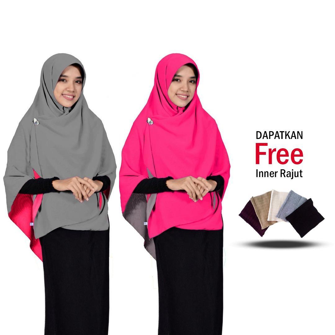 Zannah Hijab Daily Fashion Muslim Terbaru Jilbab Segi4 Bolak Balik Dua Warna Khimar Segiempat Persegi Segi Empat Murah Paling Laris Harga Grosir Jumbo - Free Inner