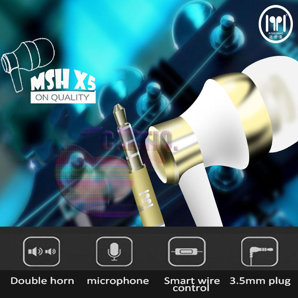 MSH Headset Stereo MSH X5 Earphone Iphone Samsung Earphone Oppo Earphone Vivo earphone Xiaomi Handsfree Universal