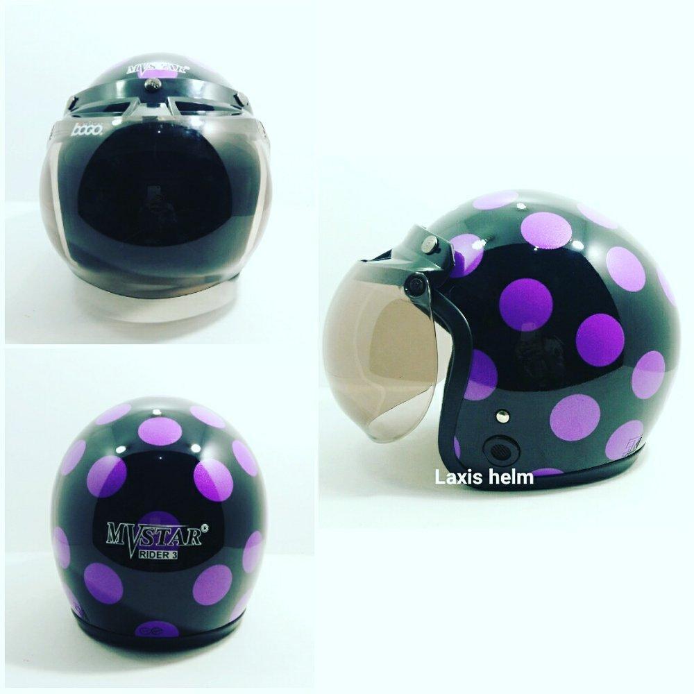 Helm bogo Mv star polkadot dasar hitam glossy