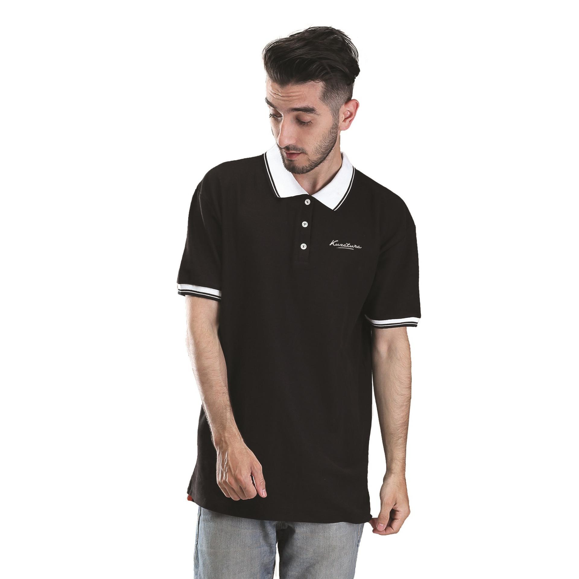 Kuzatura Kaos Polo T-Shirt Pria - bahan Not spesified Murah & Berkualitas ( Hitam
