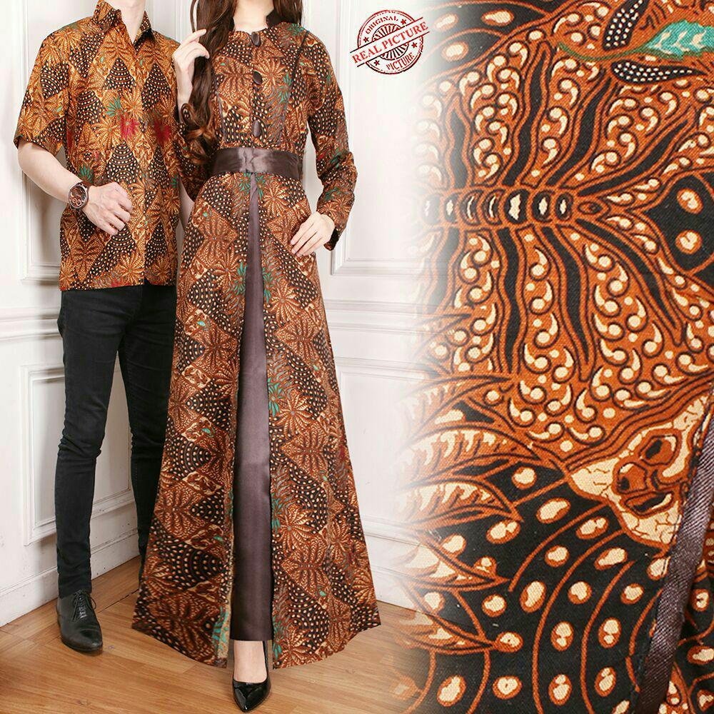 Miracle Couple Gamis Longdress Batik Songket - Biru