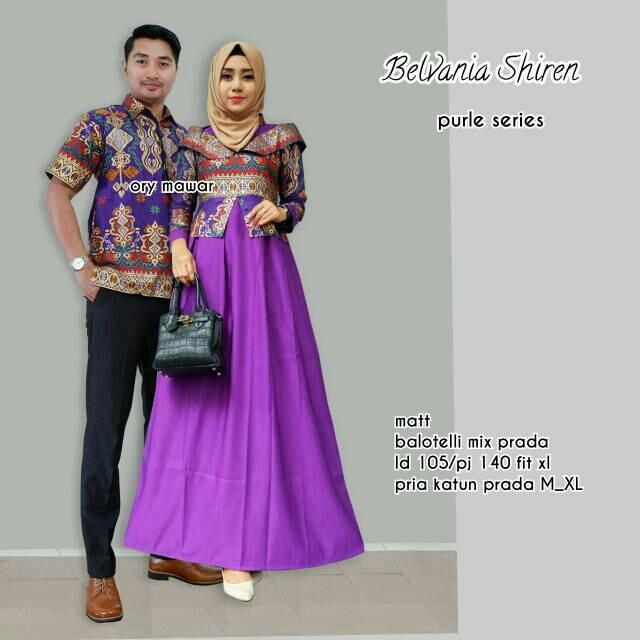 TERMURAH - Baju batik couple - baju muslim wanita terbaru 2018 - kebaya coupel Modern - Couple Batik - Batik Sarimbit - Batik Kondangan - Baju batik Belvania Shiren Ungu