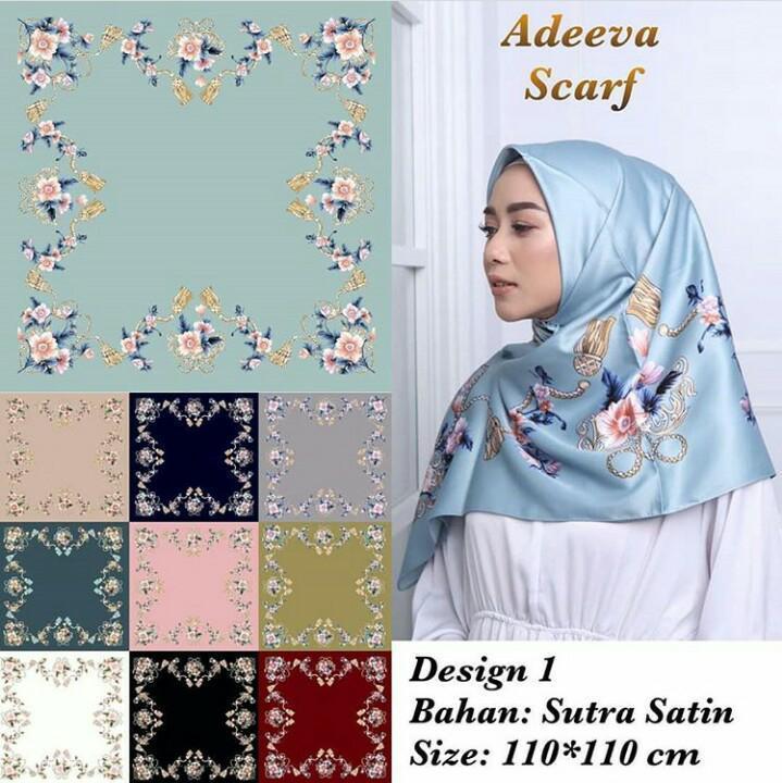 Hijab Segi Empat Motif Bunga Bahan Sutra Satin / Jilbab Segi Empat Motif Bunga Bahan Sutra Satin / Kerudung Segi Empat Motif Bunga Bahan Sutra Satin Warna Random