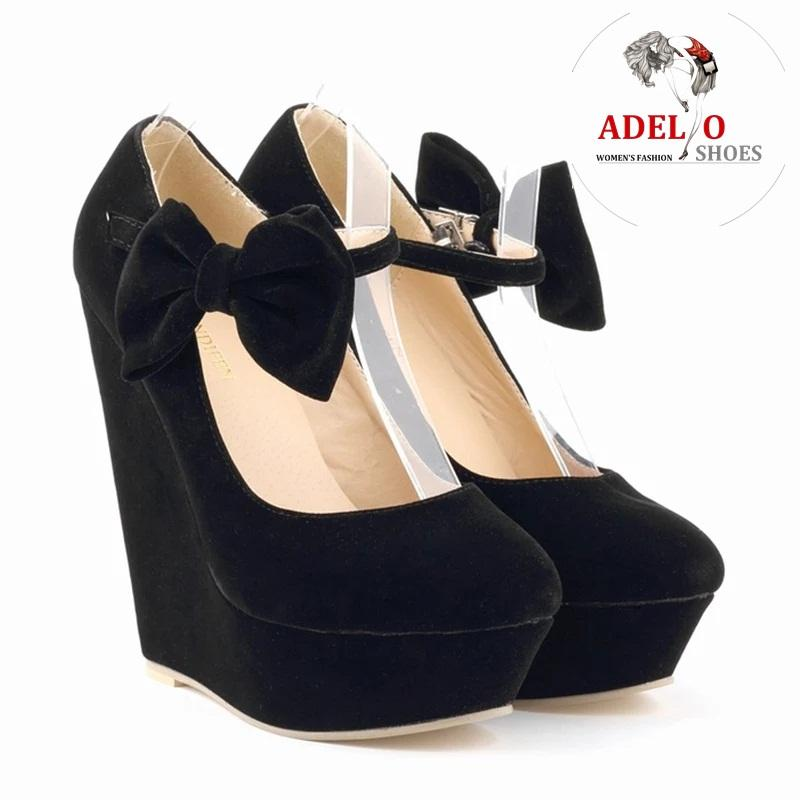 Adelioshoes- sepatu wedges wanita pita suede a72
