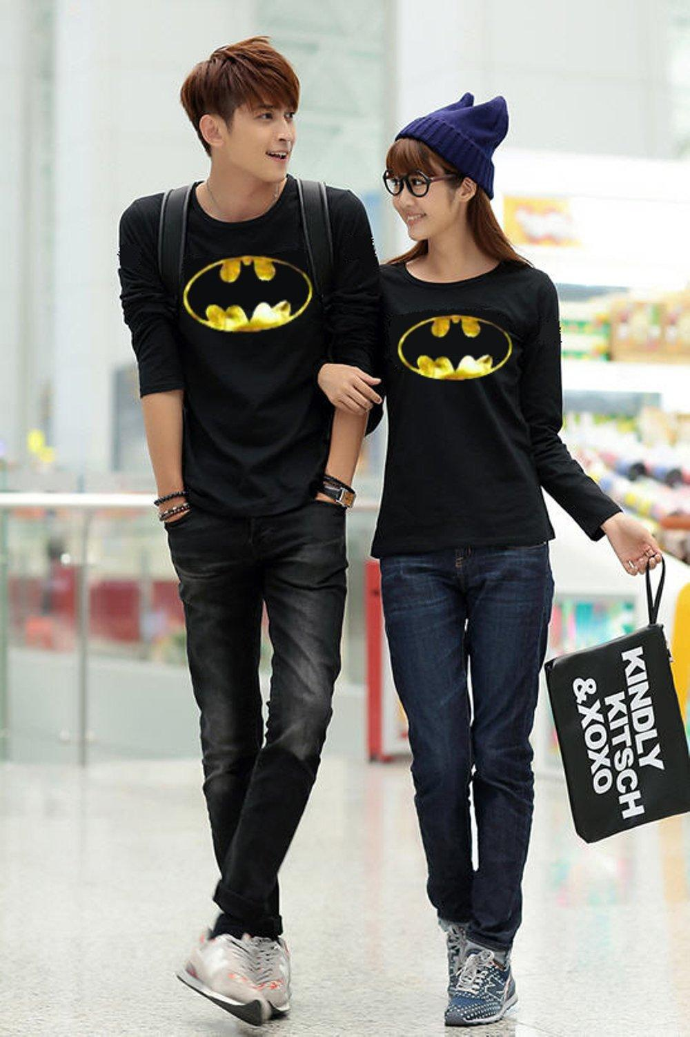 KAOS COUPLE BATMAN GOLD FOIL LP (HITAM) di lapak COUPLE GROSIR couplegrosir