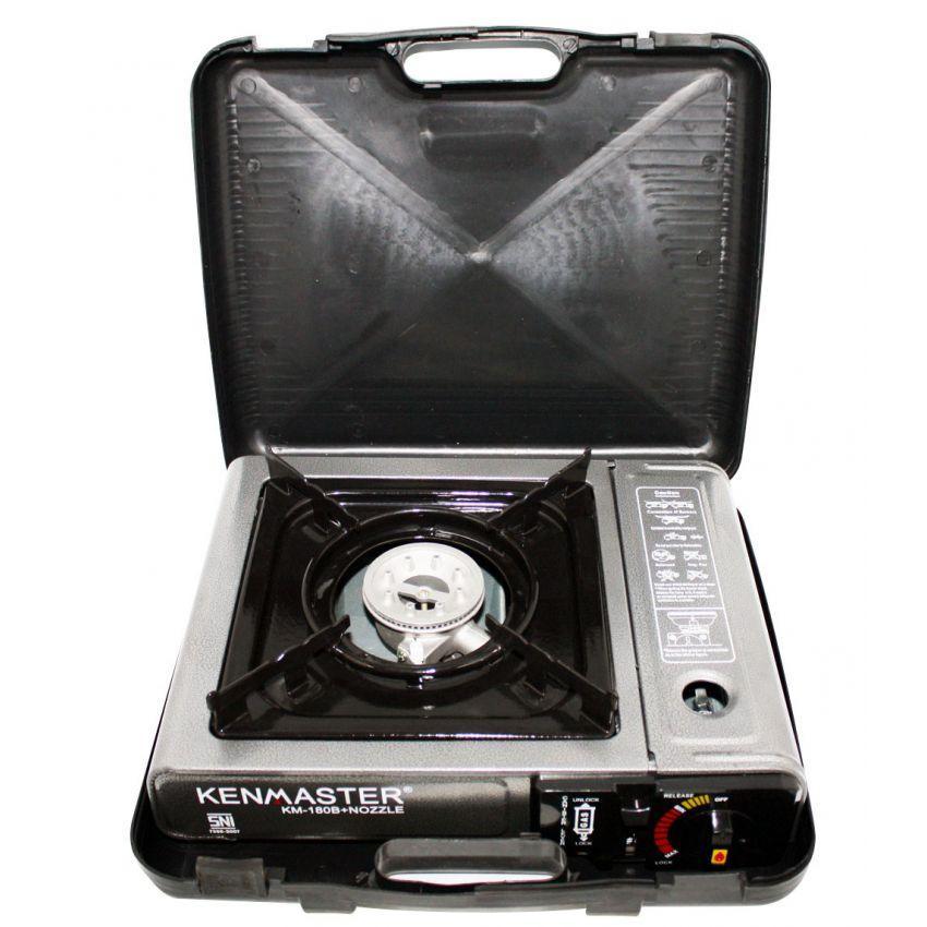 Kenmaster Kompor Portable Untuk Gas Kaleng Dan Elpiji 3Kg 12Kg SNI- abu-abu