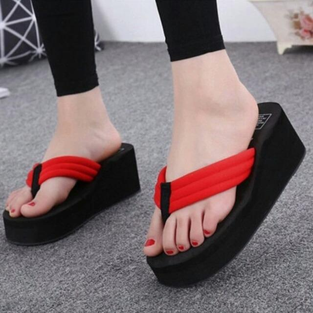 Rafishashop-Wedges Jepit Simple-[Red]