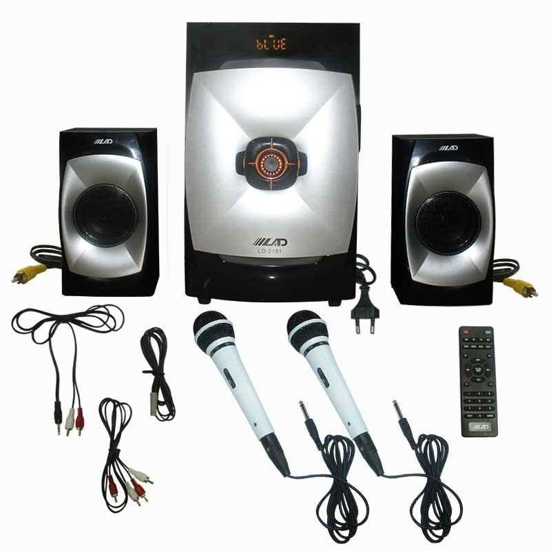 EELIC SPR-LD2181 MIX4 HITAM + PUTIH SPEAKER AKTIF SOUND SISTEM AUDIO KARAOKE SUPER BASS + BLUETOOTH DAN MICROPHONE DENGAN KABEL MIC-NK137 (2 PCS)