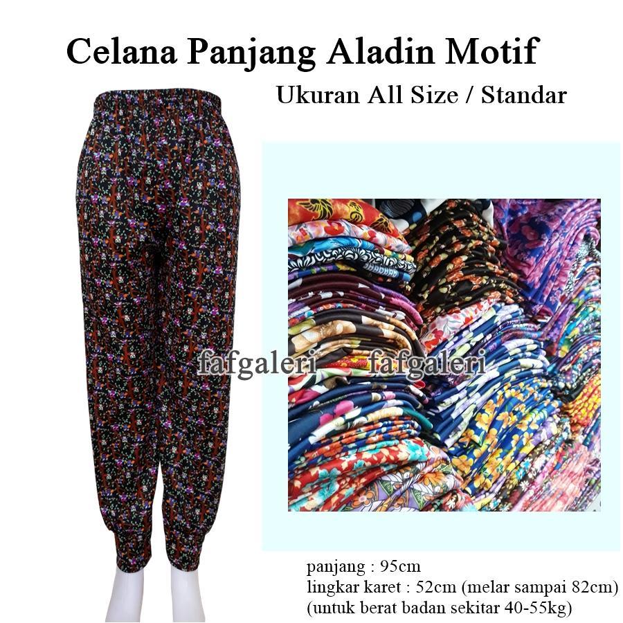 FAF Celana Aladin Panjang Motif All Size - Grosir Celana Panjang Wanita Dewasa Anak Remaja Celana Dalam Gamis Baju Muslim Muslimah Hijab Dropship Reseller Baju Pakaian