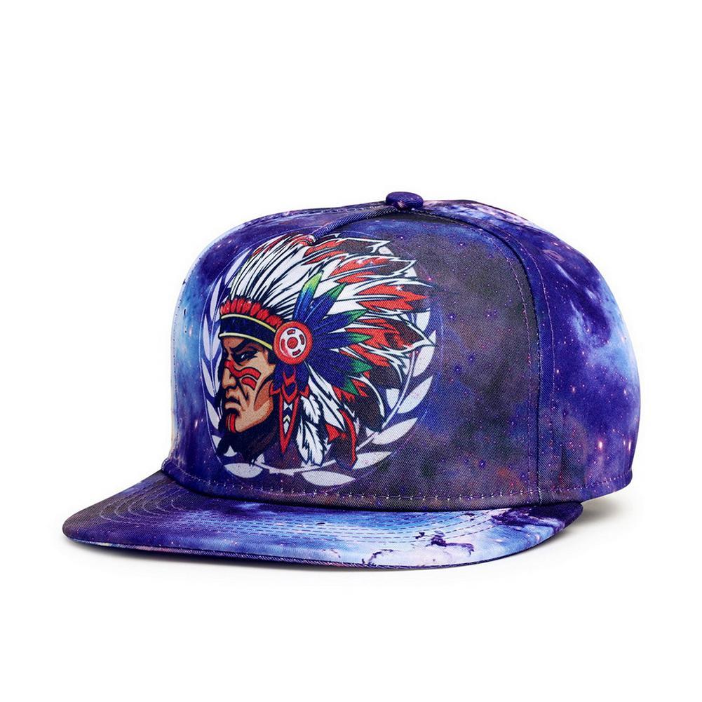 Bergaya 3D Dicetak Adjustable Topi Bisbol dengan Kepala Indian Gambar Kepribadian Unisex Hip Hop Menari Perjalanan Flat Bill Topi Bisbol Topi Snapback