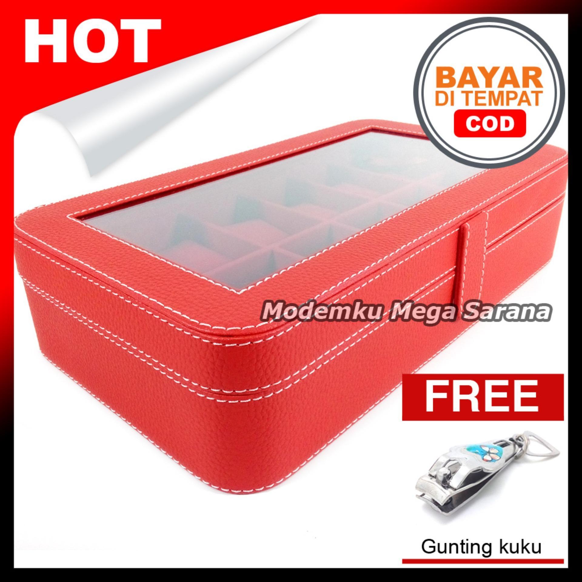 Kerajinan Jogja Kotak Jam Tangan Isi 12 Oval Tempat  Box Jam Tangan - Merah dlm Merah + Gratis Gunting Kuku
