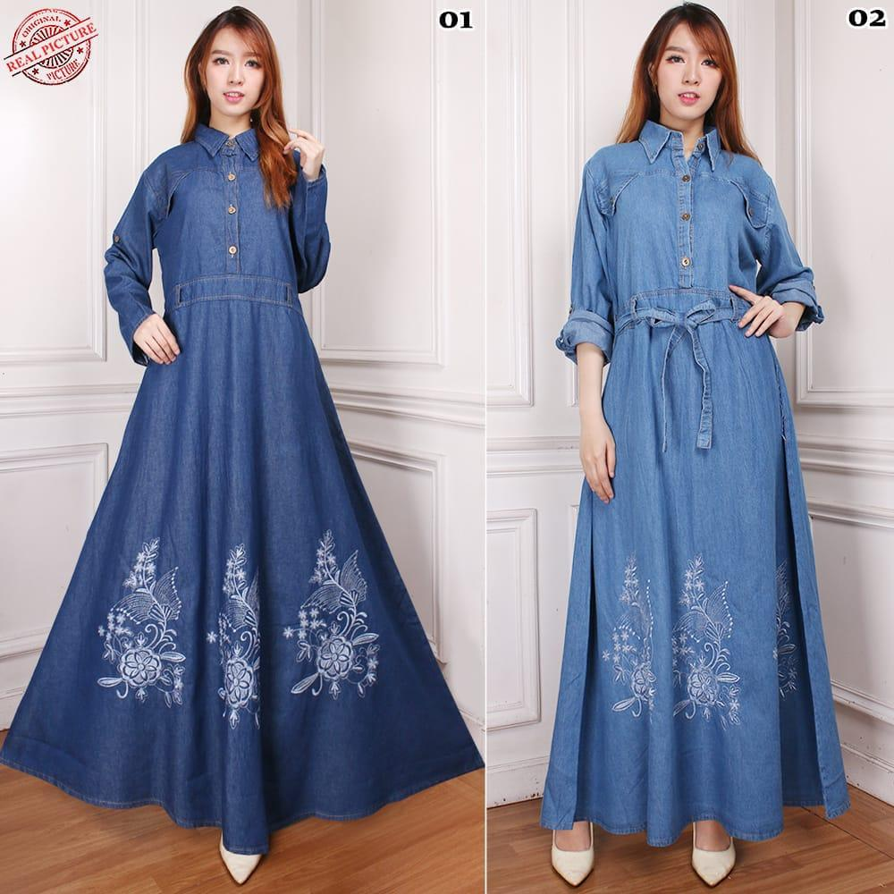 SB Collection Dress Maxi Melsa Gamis Panjang Longdress Payung Jeans Jumbo Wanita