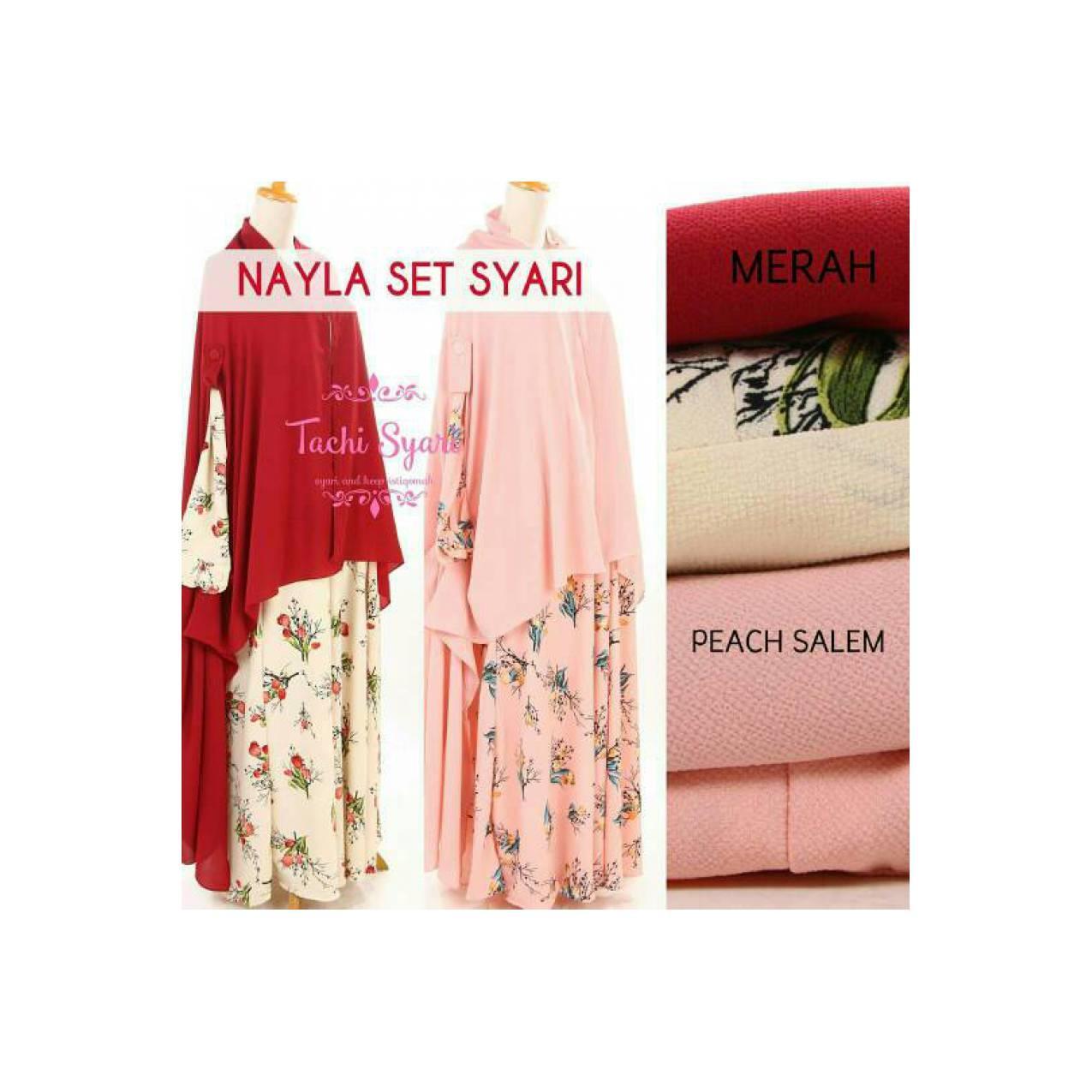 gamis abaya maxi syar'i nayla set + khimar