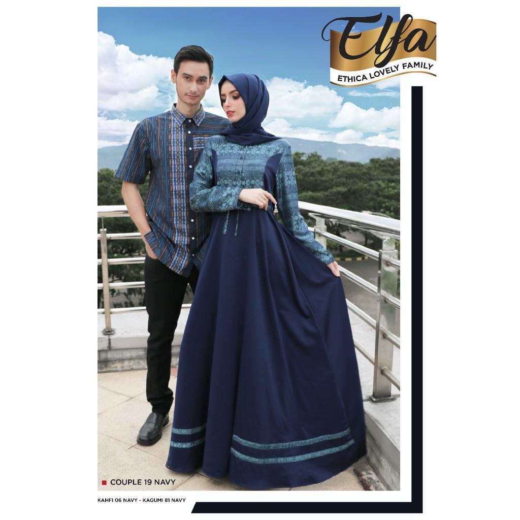 (TERBARU) Busana Muslim Couple Ethica 19 Navy (Koko S)