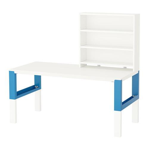 PROMO!! IKEA PAHL Meja Belajar Anak dg rak, tinggi dpt disesuaikan, putih biru MURAH /  BUBBLE 3 LAPIS / ORIGINAL / IKEA ORIGINAL