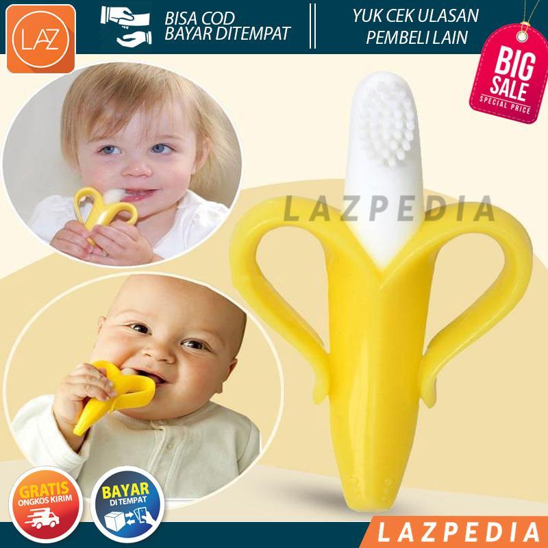 Laz COD - Teether Baby Toothbrush Banana Gigitan Bayi Sikat Gigi Pisang Non-alergi 100