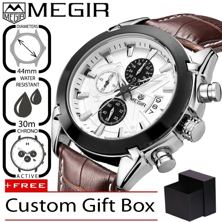Megir 2020 Jam Tangan Pria Premium Business Luxury Analog Kulit 44 mm -  Anti Air 30 56d65471eb