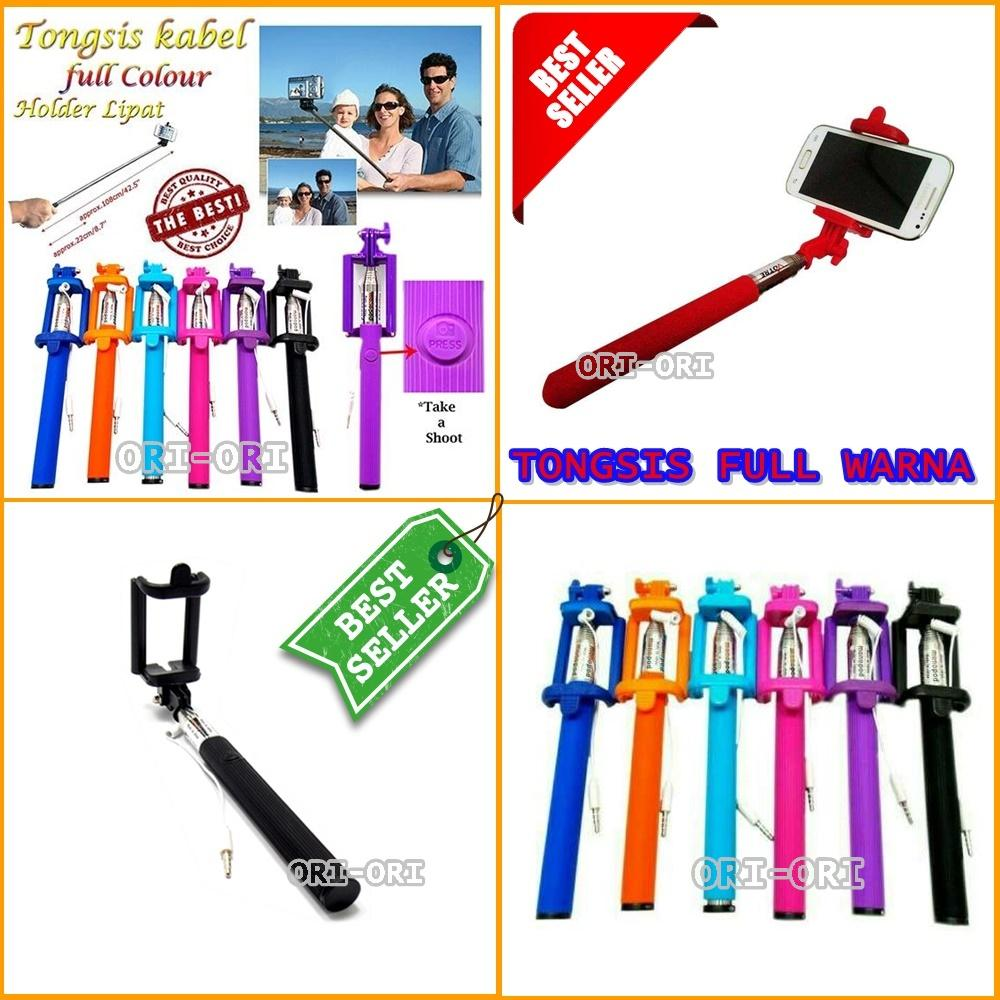 Tongsis Kabel Model Lipat + Tombol Full Colour Holder U - Warna Acak [ ori-ori ]