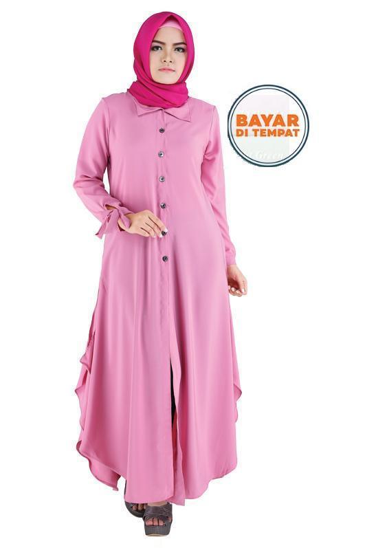Raindoz Baju Gamis Muslim Cantik Trendy Woll Peach ROK027 Wanita - Pink