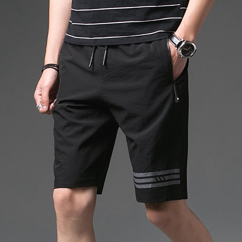Pria Orang Gemuk Selutut Musim Panas Celana Keranjang Celana Pendek Kasual (Hitam)