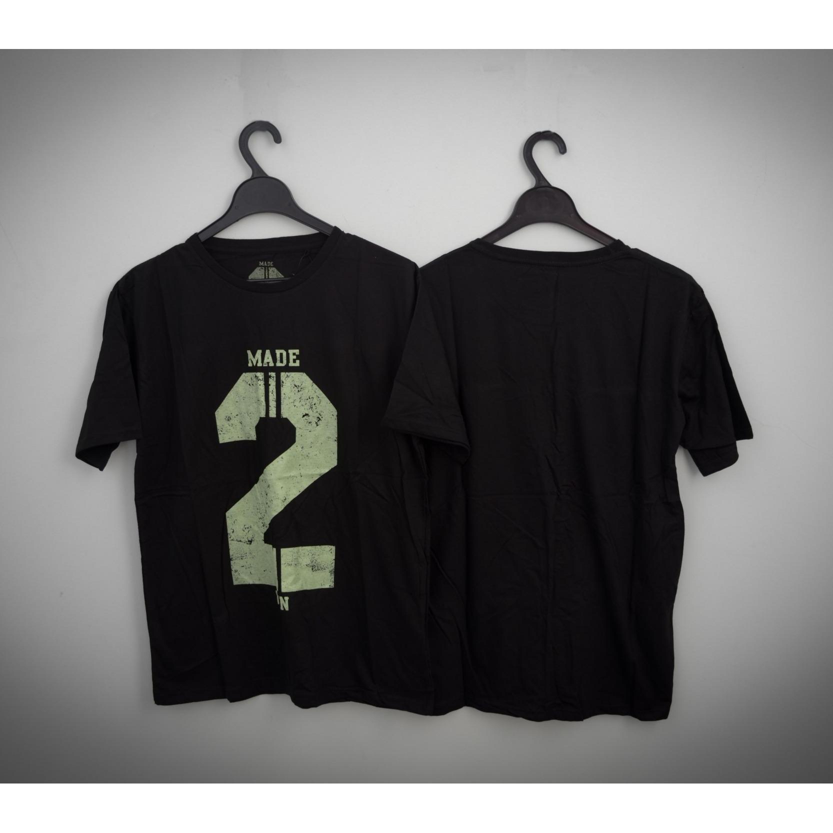 HIGH5 Fashion Pria Kaos Lengan Pendek MADE 2 WIN hitam