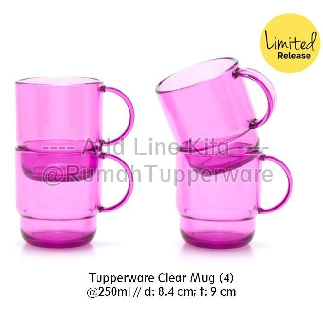 Tupperware Clear Mug 4pcs Gelas Bening Mewah Seperti dari Kristal
