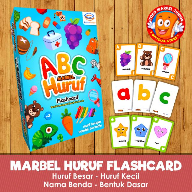 Marbel Huruf Flashcard - KARTU BAYI PINTAR - Huruf dan Benda