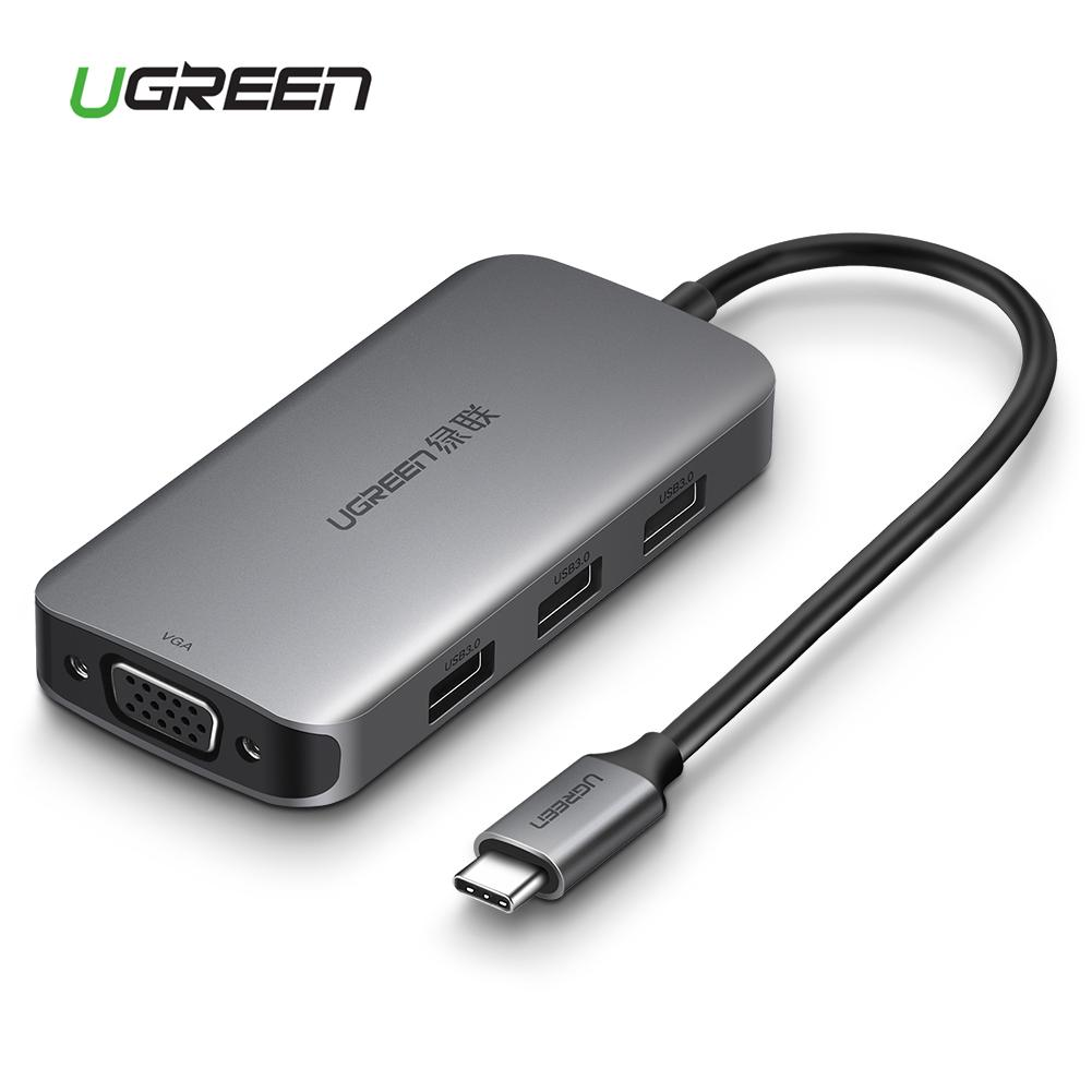 UGREEN VGA Type C Hub, USB TYPE C 3.1 Adapter Dock with 1080P VGA Port, 3 USB 3.0 Ports, 60W TYPE C PD Charge Port for MacBook Pro 2017 2016, Dell XPS 15 13, HP Spectre/Envy, Huawei mate 10/P20, Samsung Galaxy S9 S8