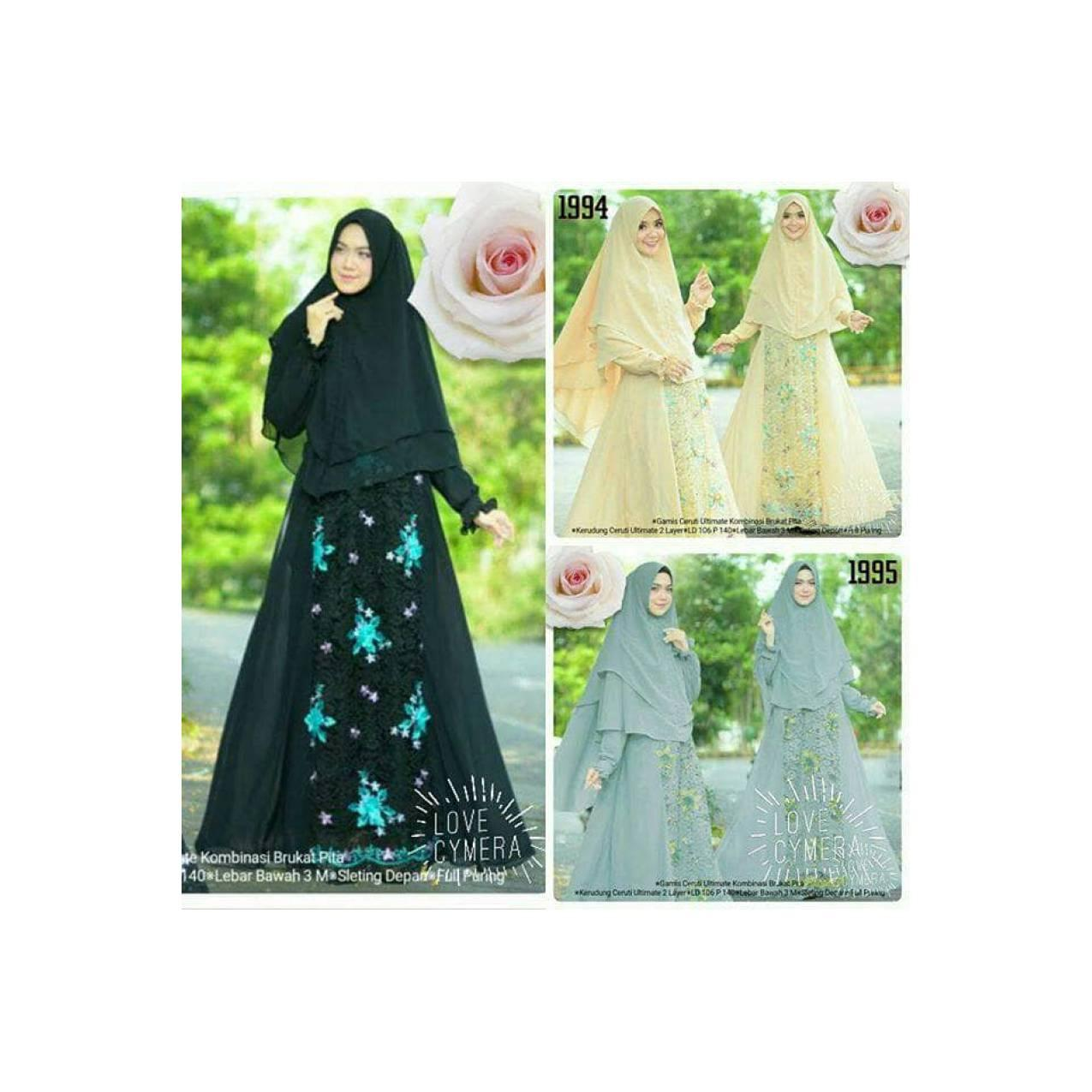 gamis syari 1993 ceruti ultimate brukat pita import high quality