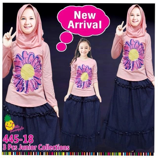 Little pineapple setelan kaos rok denim sunflower hijab anak 6-11Y